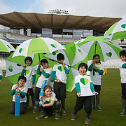 Kids play in front of the new stand at Lord's which runs on renewable energy. Schoolchildren from All Souls Primary School in London join MP James Heappey and Marylebone Cricket Club (MCC) Chief Executive Derek Brewer at Lord's to launch The Climate Coalition's #ShowtheLove campaign. The annual celebration of all that we love but could lose to climate change, from cricket pitches to woodlands, and the progress we are making towards a clean and secure future. The campaign encourages people to wear and share green hearts to demonstrate their support this Valentine's Day.