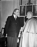 28/01/1953<br /> 01/28/1953<br /> 28 January 1953<br /> Cardinal John Dalton, Archbishop of Armagh and Primate of All Ireland,  returns from Rome where he was created  Cardinal Priest of S. Agata dei Goti by Pope Pius XII on the 12 of January. Picture shows the Cardinal  with Taoiseach Eamon de Valera on his return.