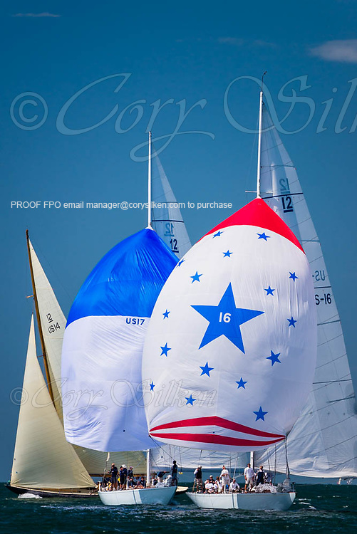 Columbia, Weatherly, and Northern Light sailing in the Nantucket 12 Metre Regatta.