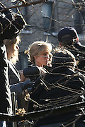 Angelina Jolie at The ' Salt ' Film set starring Angelina Jolie being filmed on location in on Riverside Drive in the Washington Heights section,  New York City