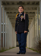 JROTC cadet Bianca Rubio-Casteneda poses for a photograph at Bellaire High School, October 10, 2014. Rubio-Casteneda has been awarded the Legion of Valor Bronze Cross for outstanding achievement in the reserve officers training corps program.
