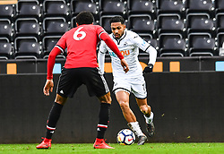 Kenji Gorre of Swansea City takes on Devonte Redmond of Manchester United - Mandatory by-line: Craig Thomas/Replay images - 18/03/2018 - FOOTBALL - Liberty Stadium - Swansea, England - Swansea City U23 v Manchester United U23 - Premier League 2 - Divison 1