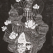 """Title: Cacti<br /> Artist: Laura Buikema<br /> Date: 2010<br /> Medium: Woodblock print<br /> Dimensions: 32 x 36""""<br /> Instructor: Terri Goodhue<br /> Status: Available<br /> Location: HLC Storage"""