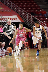 05 February 2016: Lexie Taylor(14) brings the ball up the court defended by Tierra Webb. Illinois State University Women's Redbird Basketball team hosted the Sycamores of Indiana State for a Play4 Kay game at Redbird Arena in Normal Illinois.