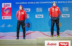 02.03.2019, Seefeld, AUT, FIS Weltmeisterschaften Ski Nordisch, Seefeld 2019, Skisprung, Mixed Team, Siegerehrung, im Bild v.l. Silbermedaillengewinner Kamil Stoch (POL), Weltmeister und Goldmedaillengewinner Dawid Kubacki (POL) // f.l. Silver medalist Kamil Stoch of Poland and World champion and Gold medalist Dawid Kubacki of Poland during the winner Ceremony for the mixed team competition in ski jumping of nordic combination of FIS Nordic Ski World Championships 2019. Seefeld, Austria on 2019/03/02. EXPA Pictures © 2019, PhotoCredit: EXPA/ Stefan Adelsberger