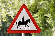 Accompanied horses or ponies warning sign in Dorset, United Kingdom