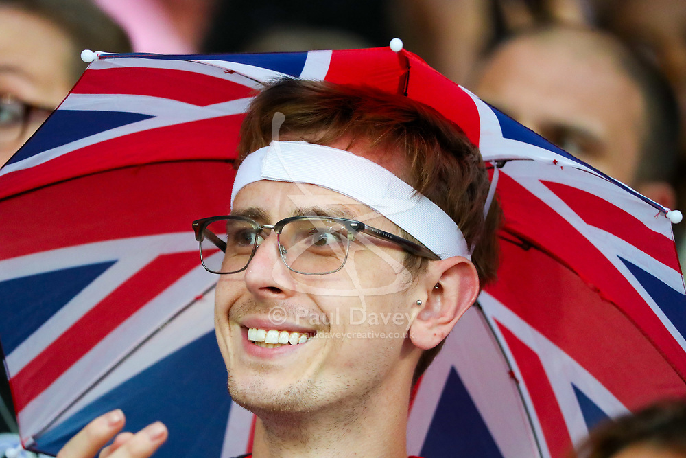 London, August 12 2017 . A Great Britain supporter in the crowd on day nine of the IAAF London 2017 world Championships at the London Stadium. © Paul Davey.