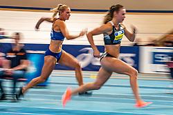 Nadine Visser and Nadine Broersen in action on 60 meter hurdles during the Dutch Indoor Athletics Championship on February 23, 2020 in Omnisport De Voorwaarts, Apeldoorn