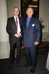 Left to right, DAVID HESKETH Managing Director of Laurent-Perrier UK and SIR TERENCE CONRAN at the Tatler Restaurant Awards, at the Langham Hotel, Portland Place, London n 10th May 2010.