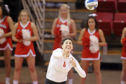 07 November 2014:  Stacey Niao on the attack during an NCAA womens volleyball match between the Loyola Ramblers and the Illinois State Redbirds at Redbird Arena in Normal IL