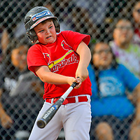 Lewis Aeneas bats for the Nationals during the Pee Wee Reese Baseball Championship between the Nationals and Cardinals on Thursday at Ford Canyon Park in Gallup.