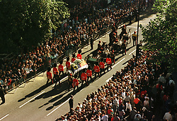 Diana, the Princess of Wales' funeral cortege makes its way to Westminster Abbey for the funeral service.