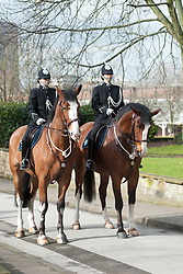 Members of the South Yorkshire police mounted unit in full dress uniform provide a mounted escort for th procession from Doncaster mansion house to Doncaster Minster for the South Yorkshire Legal Service on Sunday<br /> <br /> 13  March  2013<br /> Image © Paul David Drabble