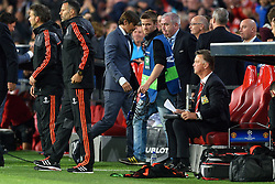 15-09-2015 NED: UEFA CL PSV - Manchester United, Eindhoven<br /> PSV kende een droomstart in de Champions League. De Eindhovenaren waren in eigen huis te sterk voor de miljoenenploeg Manchester United: 2-1 / Coach Louis van Gaal, Coach Phillip Cocu