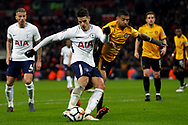 Erik Lamela of Tottenham Hotspur (L) takes a shot at goal as Joss Labadie of Newport county blocks..  The Emirates FA Cup, 4th round replay match, Tottenham Hotspur v Newport County at Wembley Stadium in London on Wednesday 7th February 2018.<br /> pic by Steffan Bowen, Andrew Orchard sports photography.