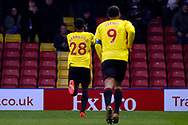 Andre Carrillo of Watford (L) celebrates scoring his teams first goal. The Emirates FA Cup, 3rd round match, Watford v Bristol City  at Vicarage Road in Watford, London on Saturday 6th January 2018.<br /> pic by Steffan Bowen, Andrew Orchard sports photography.