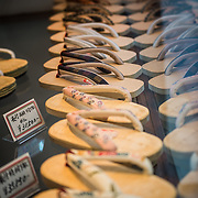 Traditional Japanese footware known as Geta for sale in Nishiki market, Kyoto.