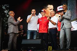 From left to right standing: Bogdan Gabrovec president of Slovenian Olimpic comitee, Tim Gajser, Anton Breznik president of AMZS and Sasa Arsenovic mayor of Maribor during sprejem Tima Gajsreja, on Avgust 27, 2019 in Maribor, Slovenia. Photo by Blaž Weindorfer / Sportida