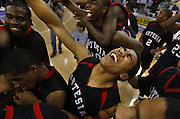 #5 for Artesia, Camilo Valencia celebrates with team members as they won their Division III game. During the Bishop O'Dowd vs. Artesia  CIF State basketball championship game at Arco Arena, March 24, 2007.