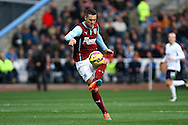 Burnley's Jason Shackell in action. Barclays Premier league match, Burnley v Everton at Turf Moor in Burnley, Lancs on Sunday 26th October 2014.<br /> pic by Chris Stading, Andrew Orchard sports photography.
