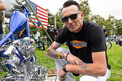 BF11 invited Builder Hawke Lawshe with his custom 1946 Harley-Davidson cut-away open rocker Knucklehead at the Born Free Motorcycle Show (BF11) at Oak Canyon Ranch, Silverado  CA, USA. Saturday, June 22, 2019. Photography ©2019 Michael Lichter.