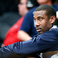 12 April 2014: Dallas Mavericks center Amar'e Stoudemire (1) is seen on the bench during the Dallas Mavericks 120-106 victory over the Los Angeles Lakers, at the Staples Center, Los Angeles, California, USA.