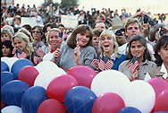San Diego, CA 1984/11/07 The crowd cheers at President Ronald Reagan's last campaign rally<br /><br />Photograph by Dennis Brack