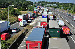 © Licensed to London News Pictures. 17/08/2016<br /> SEVERE TRAFFIC DELAYS IN KENT.<br /> Traffic on the A2 NEAR Bluewater.<br /> <br /> QE2 Bridge is closed in Dartford,Kent in both directions after an accident at 2am this morning (17.08.2016).    The closure is causing severe traffic on the M25 AND A2 both of which are at a standstill.<br /> <br /> (Byline:Grant Falvey/LNP)