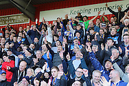 AFC Wimbledon celebrate sealing a play-off position during the Sky Bet League 2 match between Stevenage and AFC Wimbledon at the Lamex Stadium, Stevenage, England on 30 April 2016. Photo by Stuart Butcher.