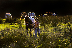 SPA, BELGIUM - AUGUST-17-2005 -  Oceane Decerf , 8, tends to one of her horses on her families property in Spa. (Photo © Jock Fistick)