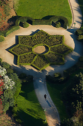 Aerial view of an ornamental garden, part of the National Botanic Garden of Belgium, at Le Botanique, a Brussels landmark. (Photo © Jock Fistick)