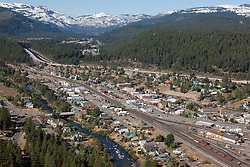"""""""Downtown Truckee Aerial 1"""" - Downtown Truckee photographed from a small amphibious seaplane with the door removed. Donner Lake can be seen in the distance."""