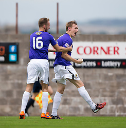 East Fife's Jonathan Page celebrates after scoring their goal. <br /> Half time : East Fife 1 v 1 Elgin City, Ladbrokes Scottish Football League Division Two game played 22/8/2015 at East Fife's home ground, Bayview Stadium.