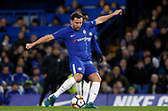 Danny Drinkwater of Chelsea takes a shot at goal. The Emirates FA Cup, 3rd round replay match, Chelsea v Norwich City at Stamford Bridge in London on Wednesday 17th January 2018.<br /> pic by Steffan Bowen, Andrew Orchard sports photography.