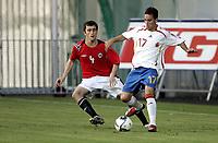Fotball <br /> Landskamp International U19 G19 Kvalifisering Qualification EM <br /> 04.06.07 <br /> Nye Fredrikstad Stadion <br /> Norge Norway U-19 - Spania Spain U-19 <br /> Jose Zamora - Agim Shabani<br /> Foto - Kasper Wikestad
