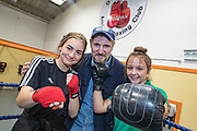 NO FEE PICTURES<br /> 22/7/18 Actor Liam Neeson, who is currently fliming in Northern Ireland, stopped by O'Hanlon Park Amateur Boxing Club, Dundalk today, much to the surprise and delight of local community members. The Club/Community Hall is open to members of the community of all ages - children from seven years of age right through to adults who have reached retirement age. Neeson is a long time friend of Hotelier John Fitzpatrick who has been involved with the boxing club since 2011 when he made a donation to the Club when he participated in The Secret Millionaire show which aired on RTE 1.   Following the broadcast of the programme, John helped raise more than €425,000 through the Eithne & Paddy Fitzpatrick Memorial Fund and the Boxing Club raised over €56,000 including a grant, to enable the Club move to the new building. Pictured Liam Neeson with local boxers Courtney Quilten and Nicole McCabe 17.  Picture:Arthur Carron