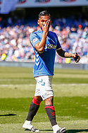 Alfredo Morelos of Rangers FC soaking up the atmosphere following the Ladbrokes Scottish Premiership match between Rangers and Celtic at Ibrox, Glasgow, Scotland on 12 May 2019.