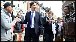 Ed Miliband walkabout during Labour's campaign launch for the 2013 elections in Ipswich, Ipswich, Suffolk, Monday 8 April, 2013. Photo By Andrew Parsons / i-lmages..