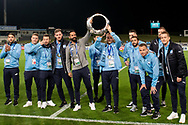 SYDNEY, AUSTRALIA - MAY 21: Sydney FC player Rhyan Grant (23) and Sydney FC player Alex Brosque (14) hold up the A-League Champions Trophy at AFC Champions League Soccer between Sydney FC and Kawasaki Frontale on May 21, 2019 at Netstrata Jubilee Stadium, NSW. (Photo by Speed Media/Icon Sportswire)