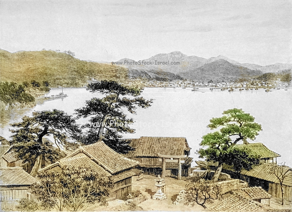 Machine colourised, Nagasaki cityscape from the book ' Rambles in Japan : the land of the rising sun ' by Tristram, H. B. (Henry Baker), 1822-1906. Publication date 1895. Publisher New York : Revell