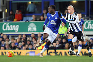Romelu Lukaku of Everton and Jonjo Shelvey of Newcastle United race for the ball. Barclays Premier League match, Everton v Newcastle United at Goodison Park in Liverpool on Wednesday 3rd February 2016.<br /> pic by Chris Stading, Andrew Orchard sports photography.