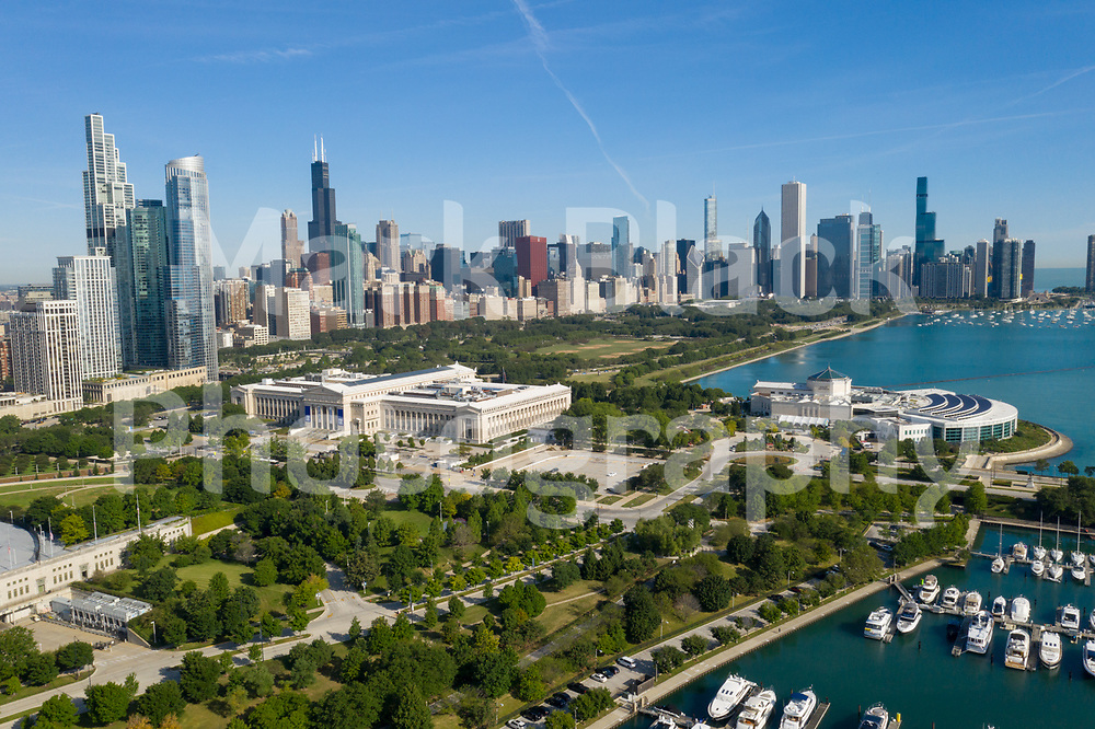 Aerial drone image of the Museum Campus and the Chicago skyline in Chicago. Photo by Mark Black