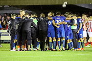 AFC Wimbledon players after win during the The FA Cup match between AFC Wimbledon and Lincoln City at the Cherry Red Records Stadium, Kingston, England on 4 November 2017. Photo by Matthew Redman.
