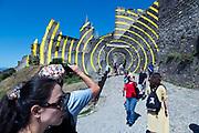 Tourist destination La Cite in Carcassonne France.with concentric circles art by artist Felice Varini
