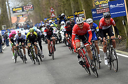 March 23, 2018 - Harelbeke, BELGIUM - Belgian Jasper Stuyven of Trek-Segafredo and Belgian Tiesj Benoot of Lotto Soudal pictured in action during the 61st edition of the 'E3 Prijs Vlaanderen Harelbeke' cycling race, 206,5 km from and to Harelbeke, Friday 23 March 2018. BELGA PHOTO POOL VINCENT KALUT (Credit Image: © Pool Vincent Kalut/Belga via ZUMA Press)