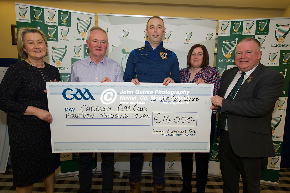 20-01-20. Leinster GAA Club Development Grant Cheque Presentations (See Press Release) at Aras Laighean, Portlaoise.<br /> GAA National Finance Manager Kathy Slattery and Jim Bolger (Right), Cathoirleach, Comhairle Laighean pictured presenting a cheque for €14,000 to Carbury GAA Club. Co. Kildare represented by from left, Richard Cully, Chairman. Colin Cash, Secretary and Patria Dobbins, Development Officer, Kildare GAA.<br /> Photo: John Quirke / www.quirke.ie<br /> ©John Quirke Photography, Unit 17, Blackcastle Shopping Cte. Navan. Co. Meath. 046-9079044 / 087-2579454.