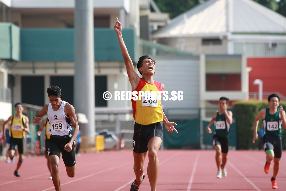 Bishan Stadium, Thursday, April 21, 2016 — Ow Yeong Wei Bin of Hwa Chong Instituion (HCI) clocked a personal best of 50.11 seconds to clinch the A Division Boys' 400 metres gold at the 57th National Schools Track and Field Championships.