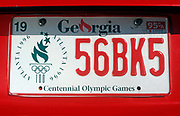 Detail of a Georgia car license plate, in the run-up to the 1996 XXVI Olympic Games in Atlanta, on 5th November 1995, in Atlanta, Georgia, USA.