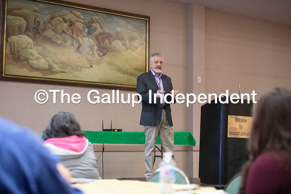 John Badal, CEO of Sacred Wind Communication gives the keynote speech Saturday, March 7 during the second annual Gallup Housing Summit at Howard Johnson in Gallup.