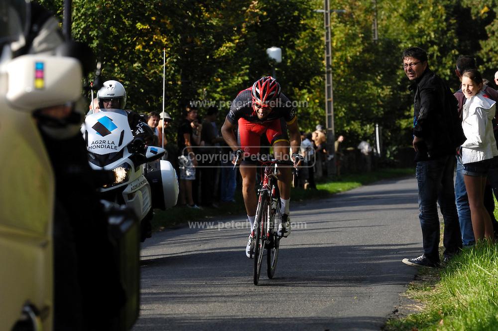 France, October 10 2010: TEAM RADIOSHACK (RSH)'s Geoffroy LEQUATRE led the race up the Côte de l'Epan climb during the 2010 Paris Tours cycle race.  Copyright 2010 Peter Horrell